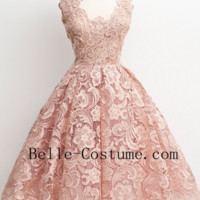 Vintage Lace Short Prom Dress, Lace Homecoming Dress