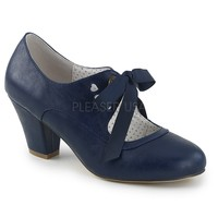 Pin Up Couture Navy Blue Wiggle Bow Tie Pumps