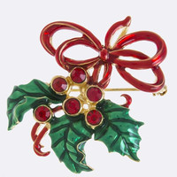 CHRISTMAS CHERRY TREE ACCENT BROOCH PENDANT