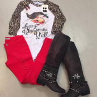 Women's Merry Christmas with Leopard