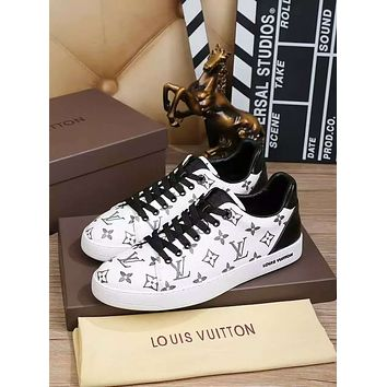 LV Louis Vuitton Men's Monogram Leather Fashion Sneakers Shoes