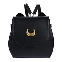 Korean Women Backpack PU Leather Sailor Moon Backpack Multifunction Black White Luna Cat Ladies Backpack Girls Travel Back Pack