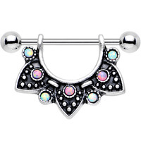 Pink and Blue Synthetic Opal Ancient Aztec Dangle Nipple Shield | Body Candy Body Jewelry
