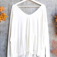Free People - We The Free Tangerine thumbhole flared hem top - White