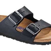 Arizona Soft Footbed Black Oiled Leather Sandals | Birkenstock USA Official Site