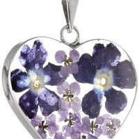 """Sterling Silver Pressed Flower Heart Pendant Necklace, 18"""""""
