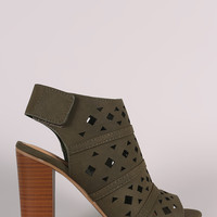 Delicious Geo Perforated Chunky Mule Heel