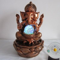 30cm Ganesha Statue Lucky Rockery Water Fountain Decorative Craft Desktop Ornament Indoor Humidifier New Year Home Decoration