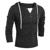 Mens Hooded Long Sleeve Sweater