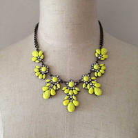 Chunky Yellow Necklace, Neon Yellow Necklace, Yellow Resin and Crysatl Necklace