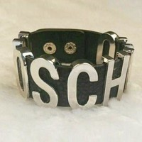 DCCK MOSCHINO Stylish Women Simple Personal Metal Pu Leather Bracelet Hand Bracelet Hand Catenary Silver