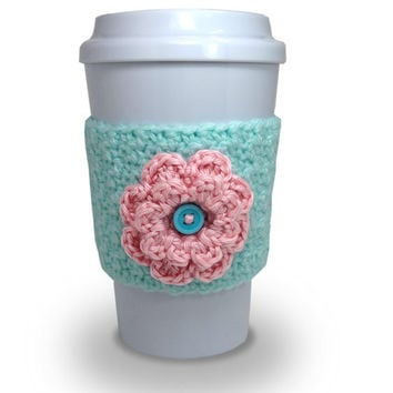 Crochet Flower Coffee Cup Cozy in Mint Green and Light Pink
