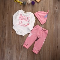 3Pcs/Set ! Winter clothes baby girls Boys 3 pieces with Hat sets Long Sleeve Romper +Pants Hat newborn baby boy clothing set