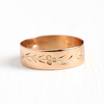 Victorian Cigar Band - Late 1800s Antique 14k Rosy Yellow Gold Size 7 Ring - Vintage Fine Wedding Eternity Flower Leaf Stacking Jewelry