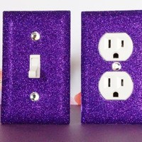 PURPLE Glitter Switch Plate Outlet Covers SET OF 2. ALL Styles Available!