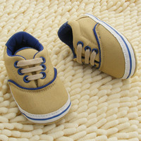 0-18M New Infant Baby Boys Girls Soft Sole Crib Shoes Lace Up Sneaker Newborn Toddler First Walkers Shoes NW