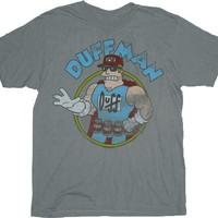 The Simpsons Vintage Duff Duffman Gray Adult T-shirt  - The Simpsons - | TV Store Online