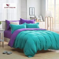 SlowDream Lake Green And Purple Solid Color Bedding Set Plain Double Duvet Cover Set Soft Polyester Flat Sheet Bedclothes