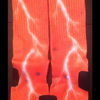 Orange Thunder Galaxy Full Coverage Custom Nike Elite Socks