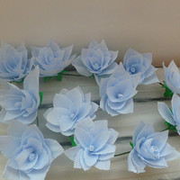 Wedding Arch Garland,Paper Flower Garland,Blue water lily Garland,Party Decoration,Bridal Crepe Paper Rose Flower,Paper Flower