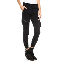 Black Big Pocket Skinny Cuff Pants