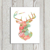 Stag print Floral stag head printable Flower stag Pink Green blue deer wall art Home decor Nursery canvas Bedroom wall art 5x7 8x10 DOWNLOAD