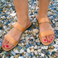 Sandals Ancient Greek Leather CREON with strap Unisex