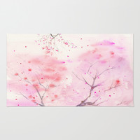 Cherry Blossom, Abstract, Art Watercolor Painting by Suisai Genki Area & Throw Rug by SuisaiGenki   Society6