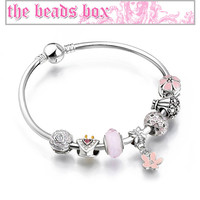 AA-68 Princess Heart Charm Bracelet 925 Sterling Silver Murano Glass & Crystal Beads + Free Shipping