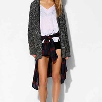 Lucca Couture Open-Stitch Marled Cardigan- Black & White