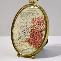 Vintage Brass Frame Crochet Flowers Lace Old Book Page Shabby Chic Pink Handmade LittlestSister