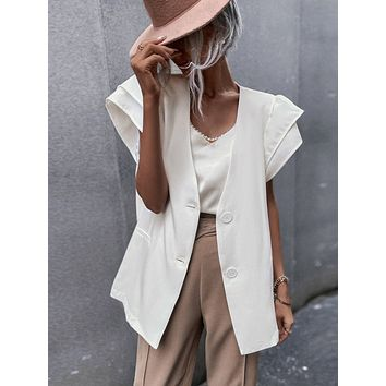 Solid Butterfly Sleeve Single Breasted Blazer