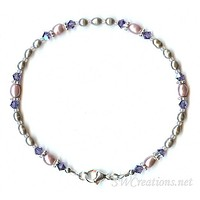Tanzanite Crystal Mauve Pearl Anklet