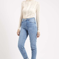 MOTO Mid-Blue Mom Jeans - Topshop