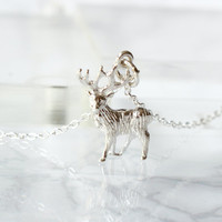 Sterling Silver Moose Necklace, Moose Jewelry, Animal Necklace- Sterling Moose Necklace-Silver Elk Necklace- Moose Pendant, Christmas Gift
