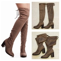 """Special Sale! """"Sassy Me"""" Above the Knee Suede Taupe Heel Boots"""