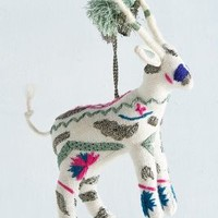 Embroidered Deer Ornament by Anthropologie in White Size: One Size House & Home