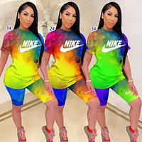 NIKE new round neck shirt shorts letter printing tie-dye two-piece rainbow