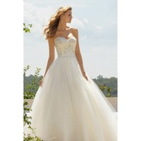 Unexceptionable Full Length Lace and Grenadine Strapless Wedding Dress