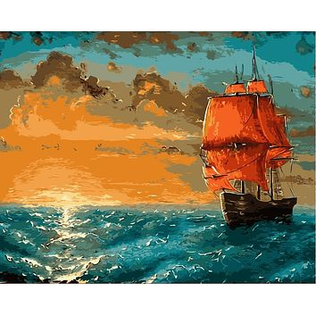 Frameless diy painting by number paint by numbers for home decor  picture oil painting for living room 4050 sunset on the sea