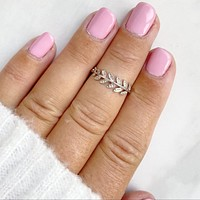 Growing Love Silver Crystal Vine Midi Ring