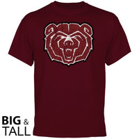 Missouri State University Bears Distressed Primary Big and Tall T-Shirt - Maroon