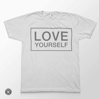 Love Yourself - Justin Bieber Lyric Inspired White Unisex T-Shirt - Sizes - Medium Large