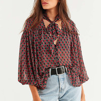 UO Teresa Printed Tie-Neck Blouse | Urban Outfitters