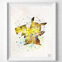 Pikachu Print, Watercolor, Pokemon Poster, Animation, Type 2, Baby Room, Nursery Art, Illustration, Giclee Wall Art, Fathers Day Gift
