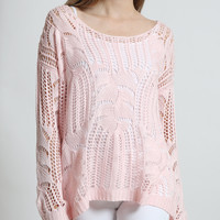 LE3NO Womens Scoop Neck Long Sleeve Loose Knit Sweater (CLEARANCE)
