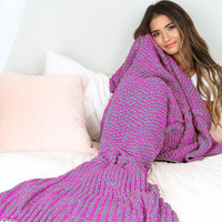 New Purple Knit Mermaid Tail Blanket for Sofa Bed Home +Free Gift-Random Necklace