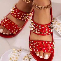 Summer new style flat bottom one pedal rivet slippers shoes