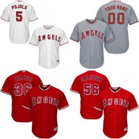 2017 Cool Base Jersey Men's Los Angeles Angels 2 Andrelton Simmons 5 Albert Pujols 27 Mike Trout 56 Kole Calhoun Custom Baseball Jerseys
