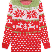 Red Elk And Snowflake Pattern Knit Jumper